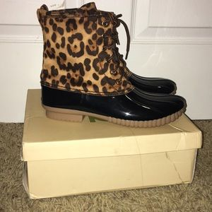"""Brand new in box """"Duck"""" style leopard boots."""